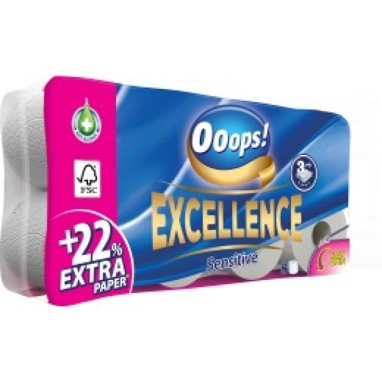 Ooops! Excellence sensitive 3 layer 8 roll toaletpaper